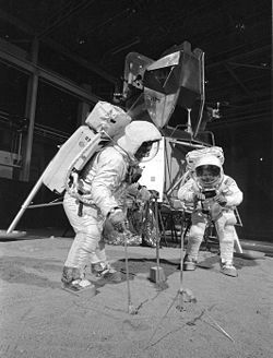 Buzz Aldrin and Neil Armstrong on a set of the moon landing, 1969.