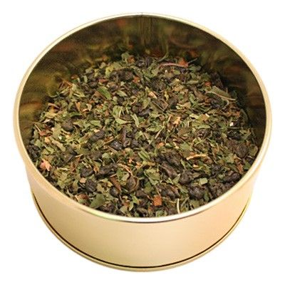 Organic Moroccan Mint - An exceptional infusion of fine organic China Gunpowder tea blended with organic spearmint and peppermint leaf. A classic green tea that is refreshing, full of flavour and excellent iced or hot. A great tea to enjoy after a meal as mint aids in digestion. A Steeped and Infused Top Seller! (http://shop.steepedandinfused.com/products/Organic-Moroccan-Mint.html)