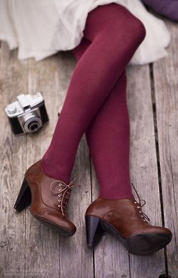 purple tights; brown Oxford heels I wish I could pull this off, maybe a character thing?