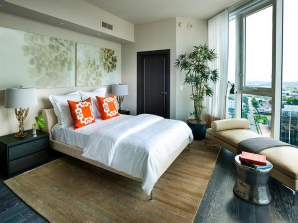 Bedroom: Glass Windows With Brown Rug And Corner Potted Tree For Tropical Guest Bedroom Decor , Guest Bedroom Furniture, Perfect Guest Bedroom | InteriorDesignFuture.com