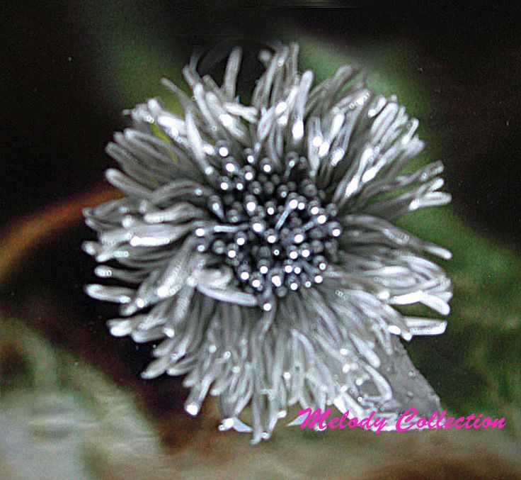 silver fabric flower