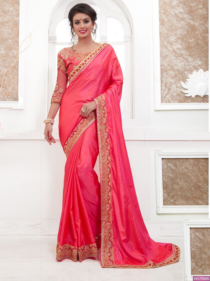Red Paper Silk Embroidered Traditional Wear Saree
