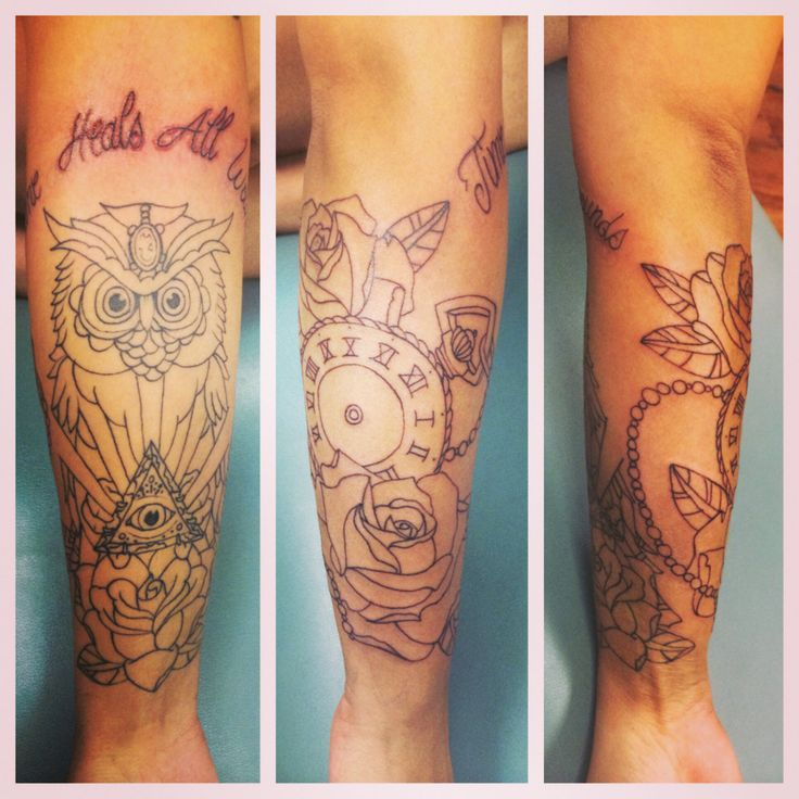 owl tattoo rose tattoo clock tattoo script tattoo time heals all wounds pretty in ink. Black Bedroom Furniture Sets. Home Design Ideas