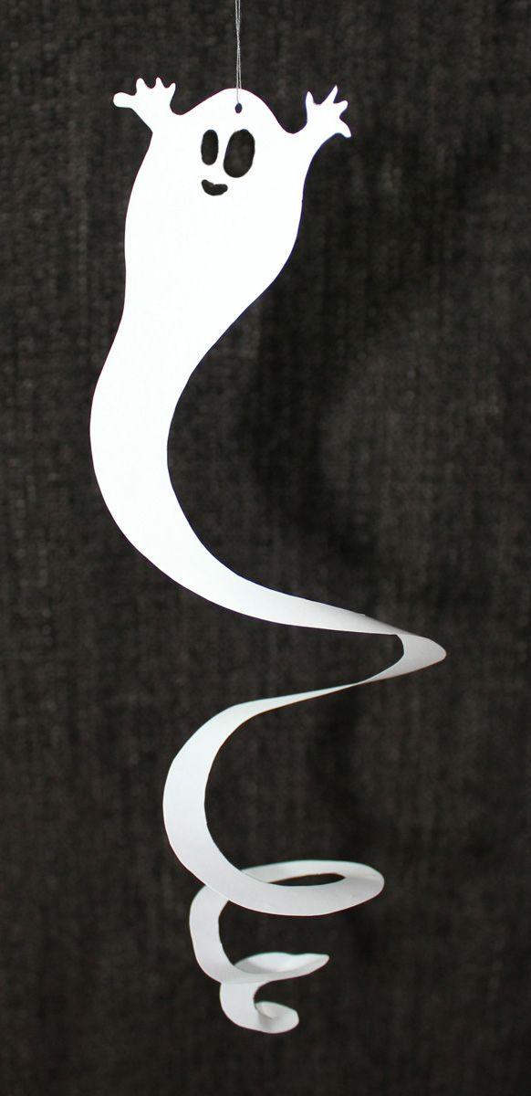 Halloween Geister-Spiralen, mit Freebie-Vorlage zum Ausdrucken, schnelle Halloween-Dekoration | kugelig.com