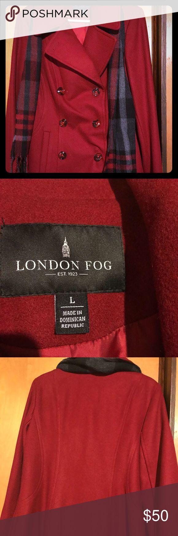London Fog Red Pea coat size L London Fog Red Pea coat size L. Fairly new London Fog Jackets & Coats Pea Coats