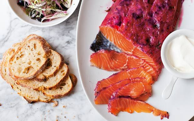 Home-cured salmon with blackcurrants, served with a fruity relish of blackcurrant and fennel.