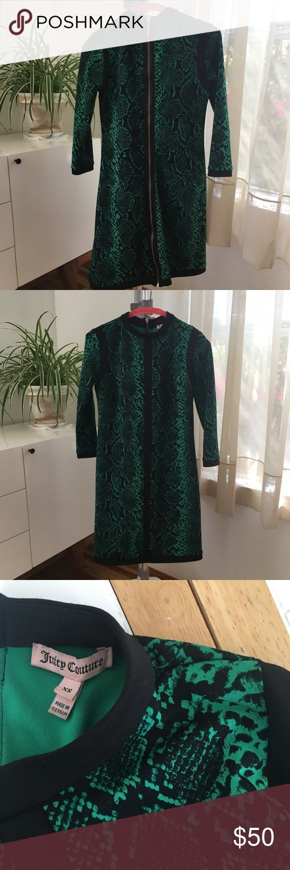 Emerald Green Snake Print Dress Emerald Green Snake Print Dress by #juicycouture it has 3/4 inch sleeves and a gold back zipper that goes the length of the dress. #snakeprint #goldzippers #green Juicy Couture Dresses Mini