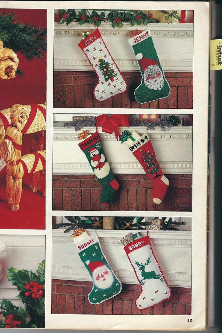 Christmas Stockings with names to crochet and knit by Followlight on Etsy