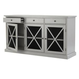Home Decorators Collection Hampton 62 In W 3 Door Wood Sideboard Buffet Grey
