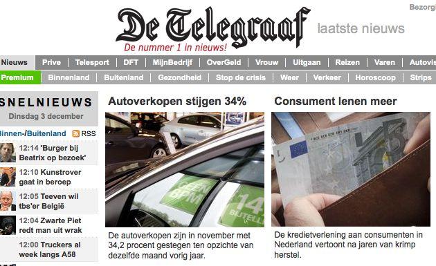 """En weer een taalkundig briljante kop in de Telegraaf: """"Consument lenen meer"""""""