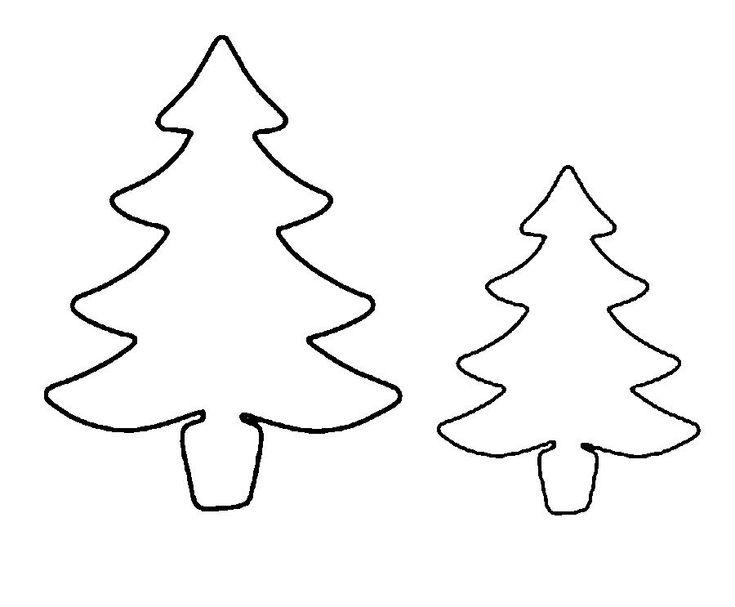 Färbung Weihnachtsbaum Vorlage zum Ausschneiden Papier - online greeting card template