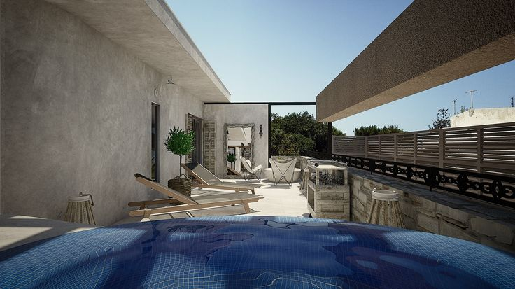 Helios Executive Suite- Veranda with outdoor jacuzzi, Elakati Luxury Boutique Hotel, Rhodes , Greece
