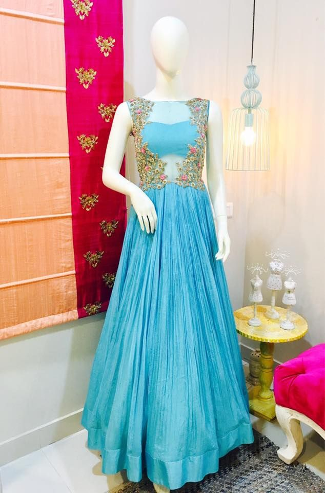 SC-D5121: Deep sky blue ruched floor length dress!!!!We can customize the colour   size as per your requirement.To order please call/ WhatsApp on 9949944178 or mail us  issadesignerstudio@gmail.com  18 March 2017
