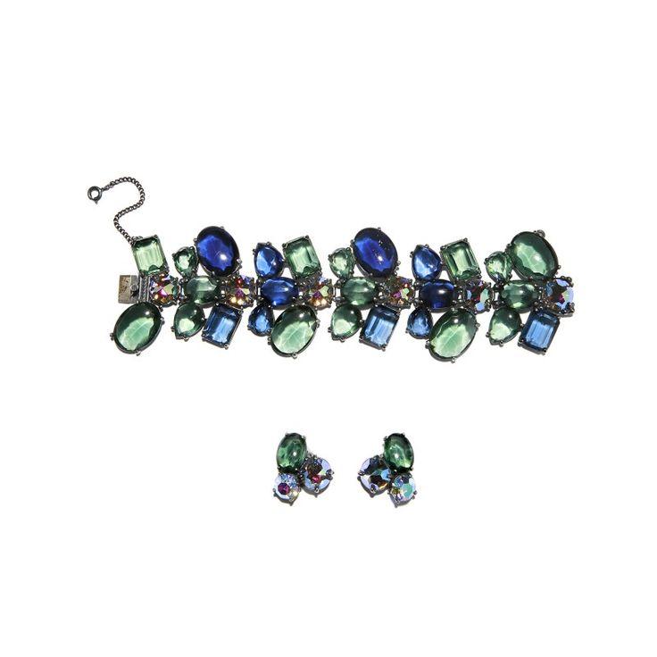 Vintage Elsa Schiaparelli bracelet and earrings set, c.1960