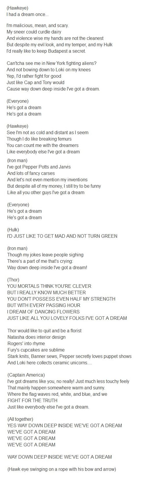 """Tangled """"I've got a Dream"""" as sung by the Avengers  hehe"""