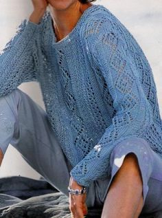 Free Knitting Patterns - Blue Pullover (knitting)