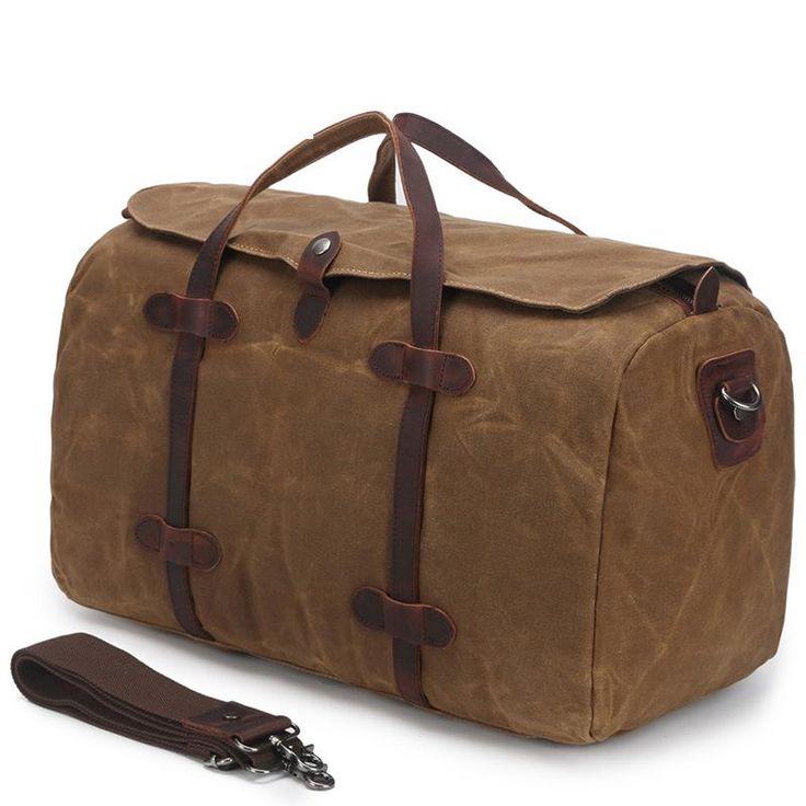 Large Waxed Canvas Duffle Bag Casual Gym Weekend AF12BATIK