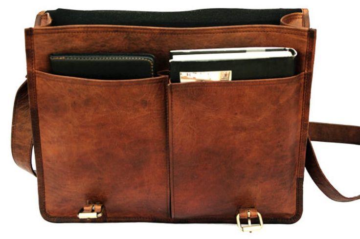 "Amazon.com: QualityArt 16"" Twin Pocket Leather Messenger Bag Business Bag Briefcase Laptop Case: Computers & Accessories"