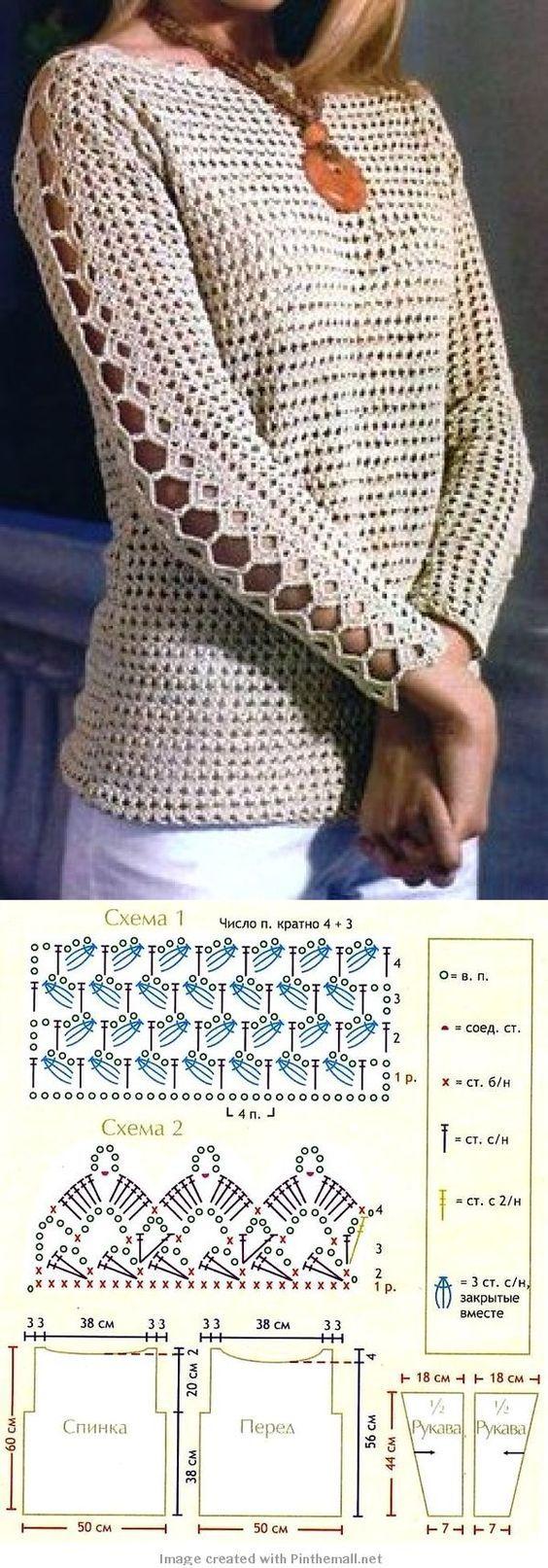 Blusa de croche com mangas compridas: