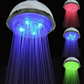 Water Flow Power Temperature Sensor 3 Color Changing LED Light Rainfall Shower Head