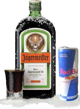 Jagermeister + red bull = Jager bomb = liquid candy