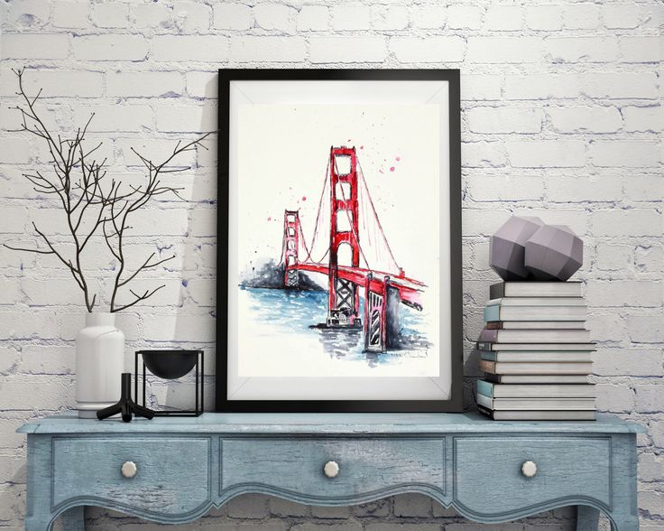 San Francisco Original Watercolor Painting, Illustration Golden gate, Travel Illustrator, Wall art Home Decor, Holiday gift, 9 x 12 by NiksPaintGallery on Etsy https://www.etsy.com/listing/484356543/san-francisco-original-watercolor