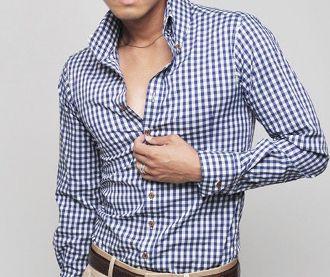 Men's High Collar Checkered Button Shirt