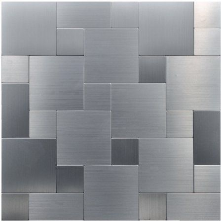 "Art3d Peel and Stick Stainless Steel Metal Backsplash Tile for Kitchen /  Bathroom, 12"" x 12"" Square"