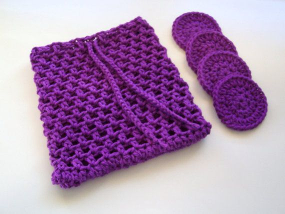 Crochet Laundry Bag : Cotton Facial Scrubbies With Laundry Bag by amieq on Etsy, $7.00