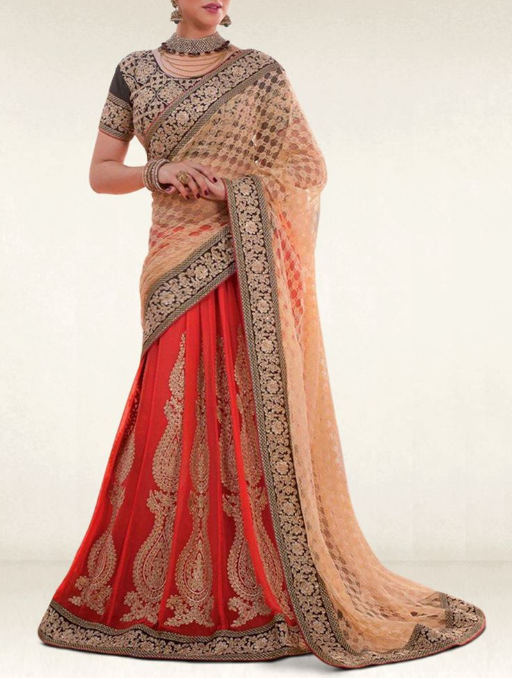 This sparkling beauty of outfit will work it's magic on everyone when you wear this red and beige georgette and net party wear lehenga saree.