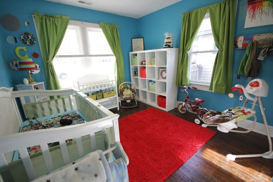 Love the colors!: Boys Nurseries, Colorful Rooms, Blue Wall, Boys Rooms, Color Cribs, Modern Nurseries, Baby Rooms, Green Curtains, Color Kids Rooms