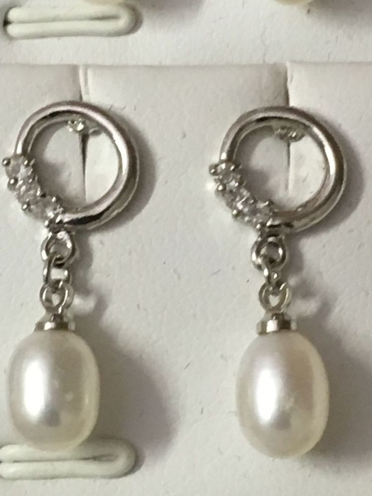2 Pairs Fresh Water Pearl  with Crystal Earrings- 925 Silver  Wedding Party~Gift