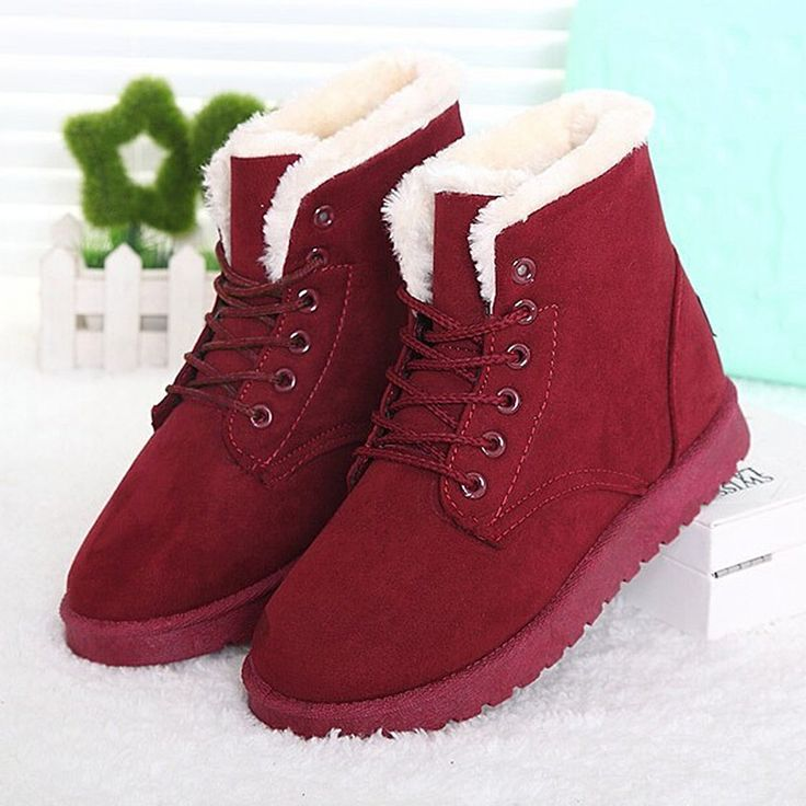 Women Boots Winter Warm Snow Ankle Boots Black Lace Up Boots Female Fur Shoes Women Botas Femininas #>=#>=#>=#>=#> Click on the pin to check out discount price, color, size, shipping, etc. Save and like it!