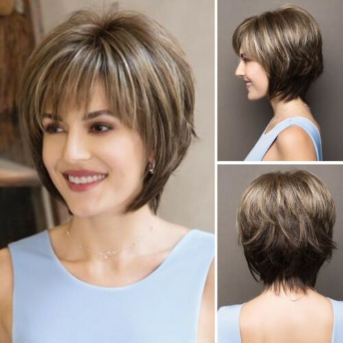 Details about Women Short Straight Wigs Omrbe Brown Blonde Mix Fashion Full Bob Hair Cosplay