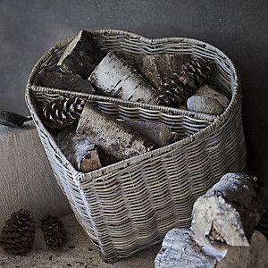Heart Log Basket - Natural
