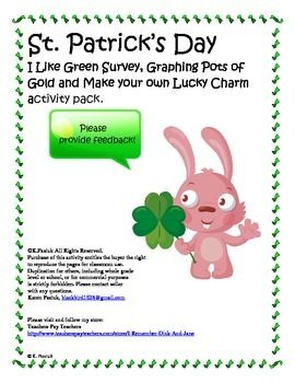 "Three St. Patrick's Day learning centers for primary grade students. Included is an ""I'm Wild About Green"" survey for your students to do with their friends. Also included is a ""Pots of Gold"" graphing activity with questions designed for your students to analyze and interpret data."