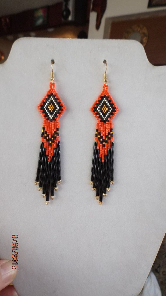 Native American Style Beaded Orange Earrings by BeadedCreationsetc