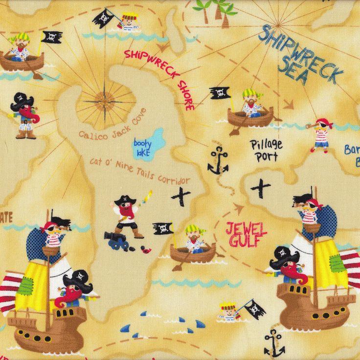 Pirates Map Island Ships Skulls Sea Boys Kids Craft Quilt Fabric FQ or Metre NEW