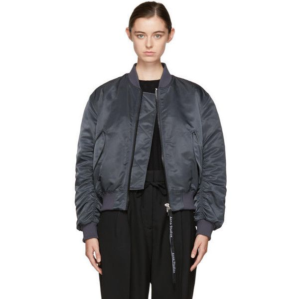 Acne Studios Navy Clea Bomber Jacket (¥62,805) ❤ liked on Polyvore featuring outerwear, jackets, navy, bomber jackets, style bomber jacket, navy flight jacket, navy bomber jacket and navy jackets