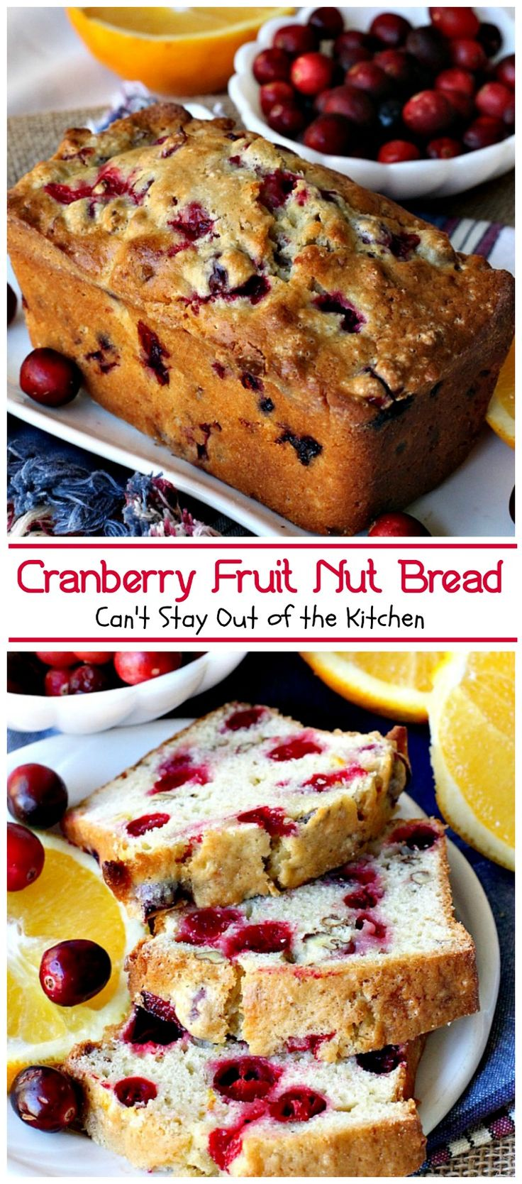 Delicious cranberry bread made with orange juice, orange zest, cranberries and pecans. Great for holiday baking.