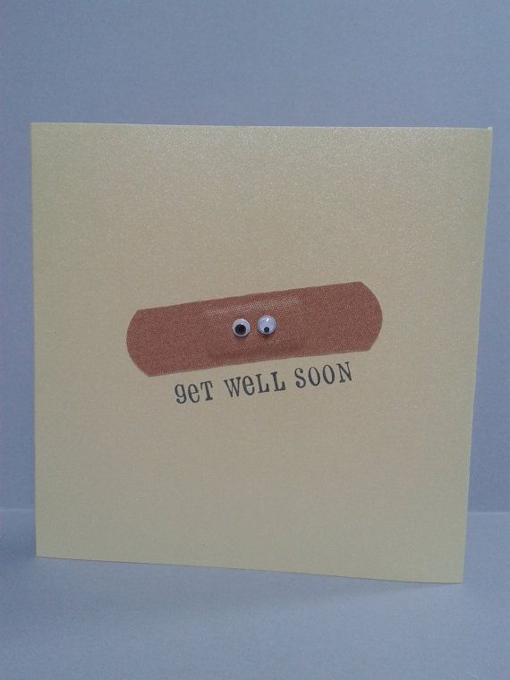 Get Well Soon Plaster Card Personalised. by GurdGifts on Etsy