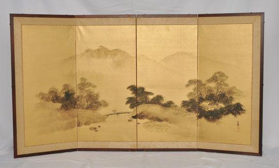 Vintage Japanese 4 Panel Silk Screen Circa 1950s Silk