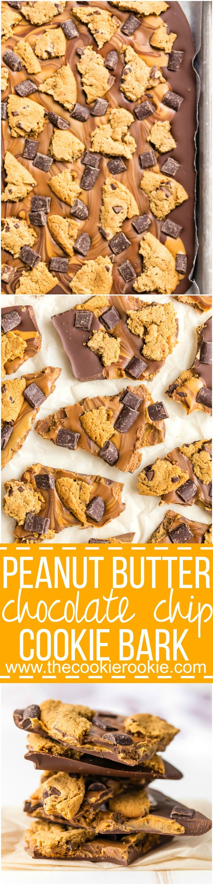 Peanut Butter Chocolate Chip Cookie Bark easy dessert recipe! Only 4 ingredients Loaded with peanut butter, milk chocolate, dark chocolate chunks, and chocolate chip cookies!