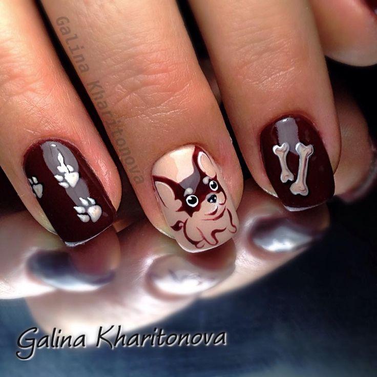 Новогодний дизайн, новогодний маникюр, новогодний дизайн ногтей, зимний маникюр, зимний дизайн ногтей , мультяшные, рисунки на ногтях, собака, год собаки 2018, чихуахуа