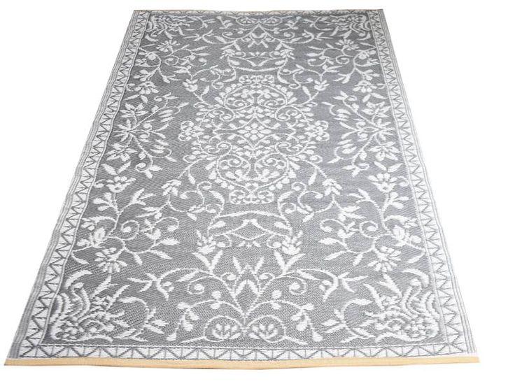 Buitenkleed met orientaalse print erop in grijs kleur, ideaal als plastic vloerkleed voor tuin en balkon.