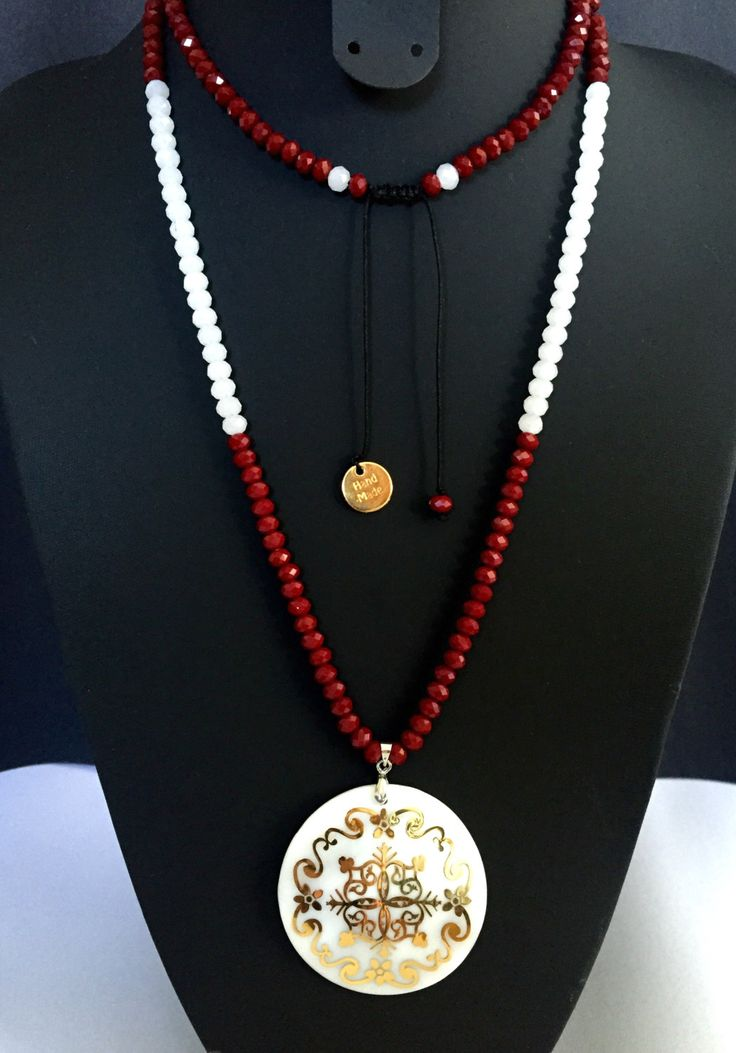 Mother of pearl gold painted beaded long necklace with red and white faceted crystal beads shell pendant caftan necklace nacre pendant by CallmeHappySpirit on Etsy