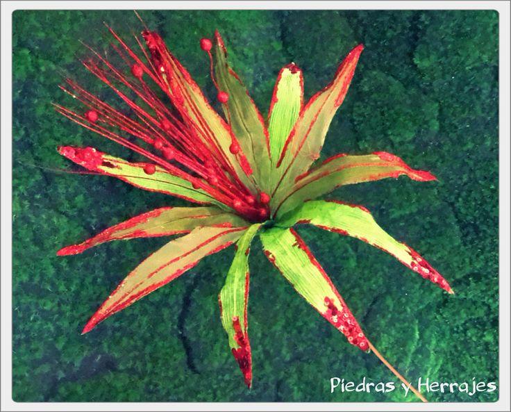 Flor delgada Verde-rojo 50x64 cm Ref: 65-538 Cel.3127994768 Tel.511 78 17 Medellín-Colombia