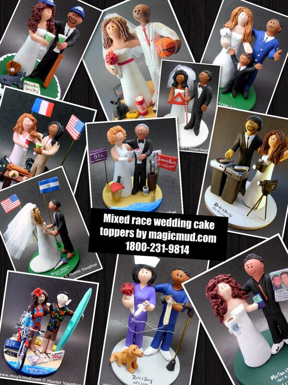 Mixed Race Wedding Cake Topper,    wedding cake toppers, these were commissioned for Interracial marriages and wedding ceremonies....  the most memorable mixed race - interracial wedding keepsake for you and yours!...  #magicmud  $235    www.magicmud.com  1800 231 9814