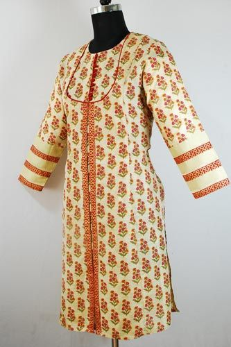 Angrakha Floral Printed Kurti is an ideal Formal Wear for Summer.