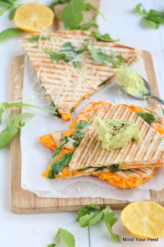 Quesadilla met zoete aardappel en rucola - Mind Your Feed